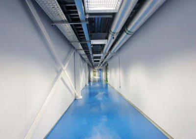 long corridor to a power room